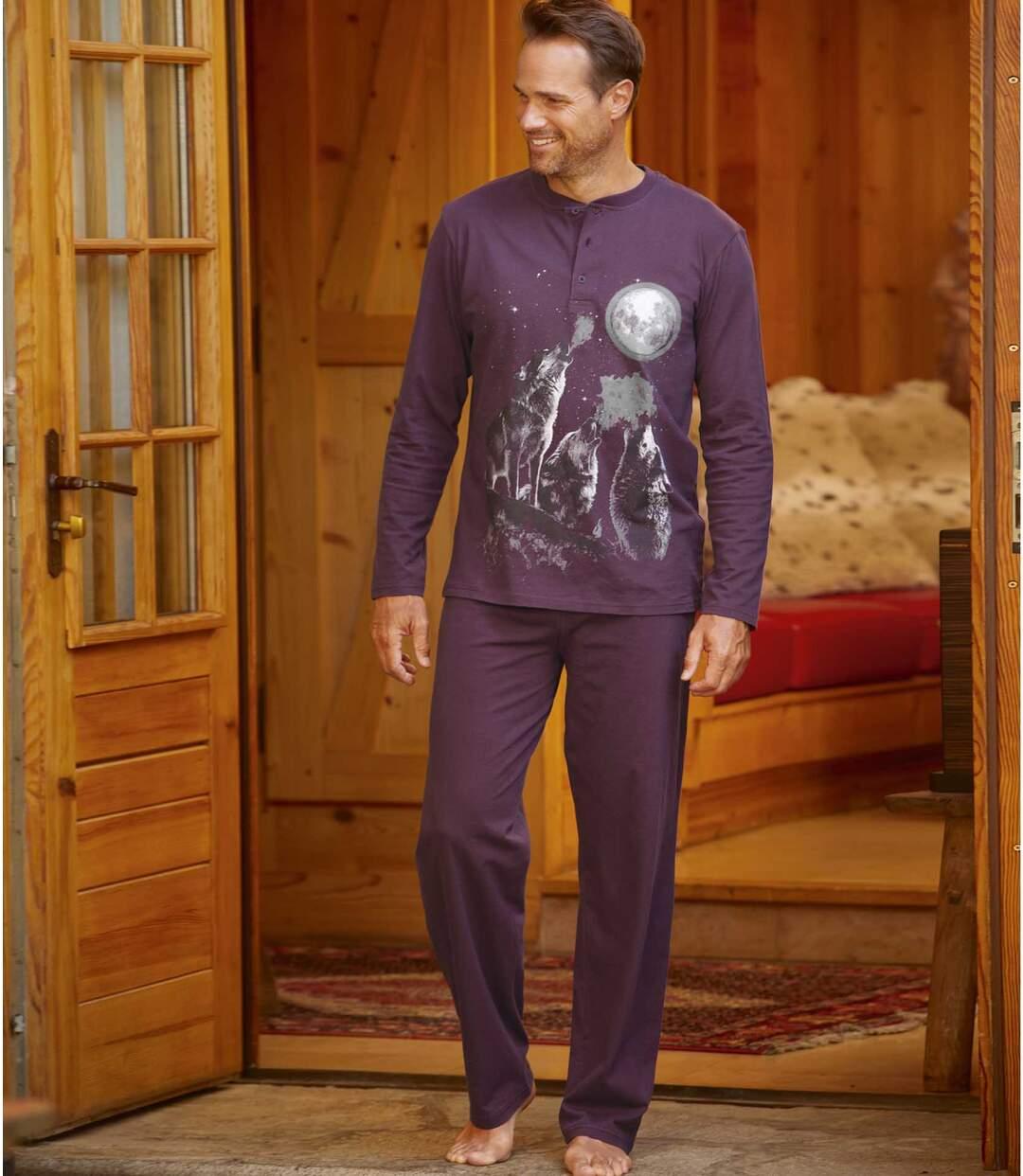 Jersey pyjama met wolvenprint