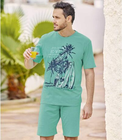 Men's Graphic Print Pyjama Short Set - Turquoise