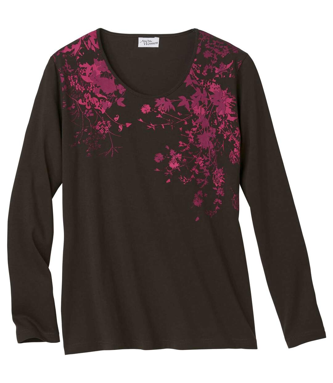 Women's Brown Long Sleeve Top with Cherry Blossom Pattern