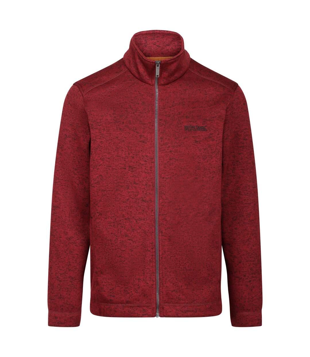 Regatta Mens Branton II Full Zip Marl Fleece Top (Burgundy) - UTRG4763