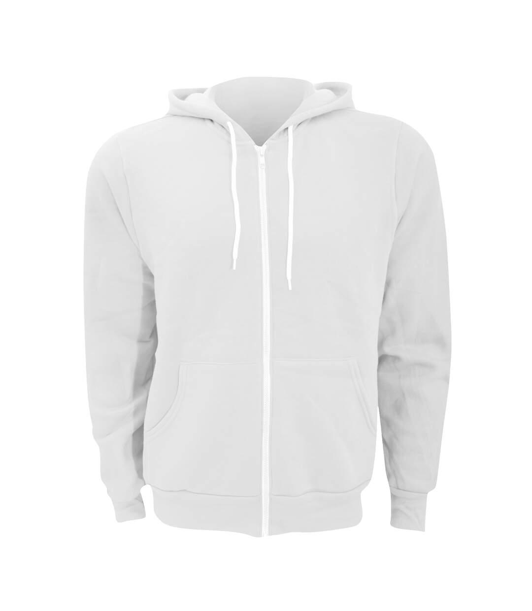 Canvas Unixex Zip-up Polycotton Fleece Hooded Sweatshirt / Hoodie (White) - UTBC1337