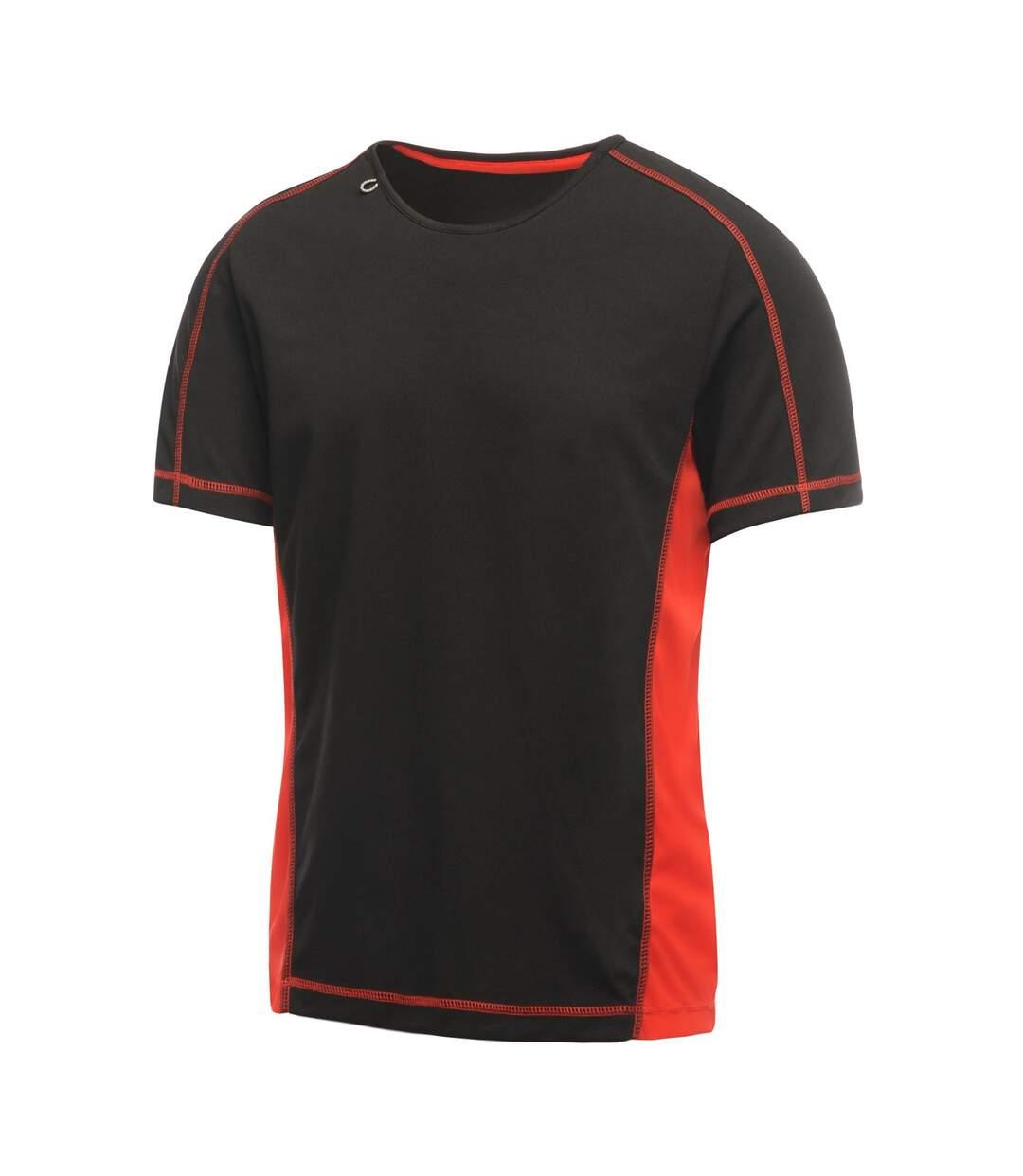Regatta Activewear Mens Beijing Short Sleeve T-Shirt (Black/Classic Red) - UTRG2489