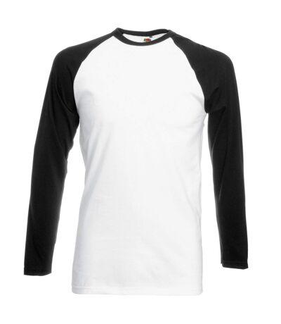 Fruit Of The Loom Mens Long Sleeve Baseball T-Shirt (White/Black) - UTBC328