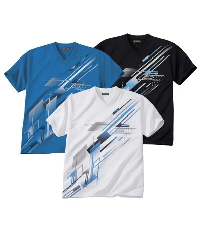 Pack of 3 Men's Sports Graphic Print T-Shirts - White Black Blue
