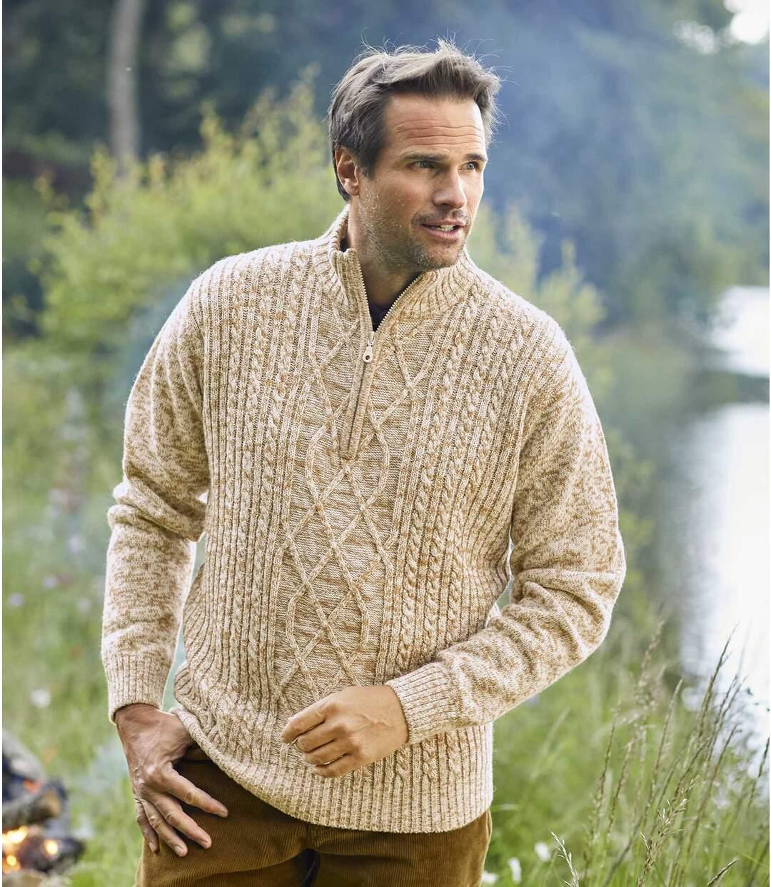 Sweter trykotowy z kołnierzem na zamek Mountain