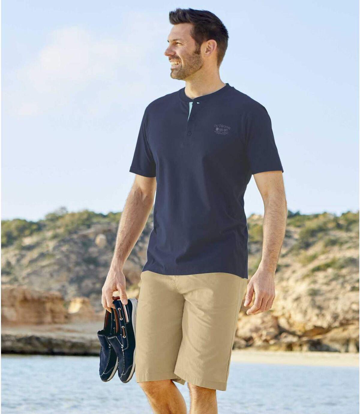 Pack of 2 Men's Canvas Shorts - Beige Navy Atlas For Men