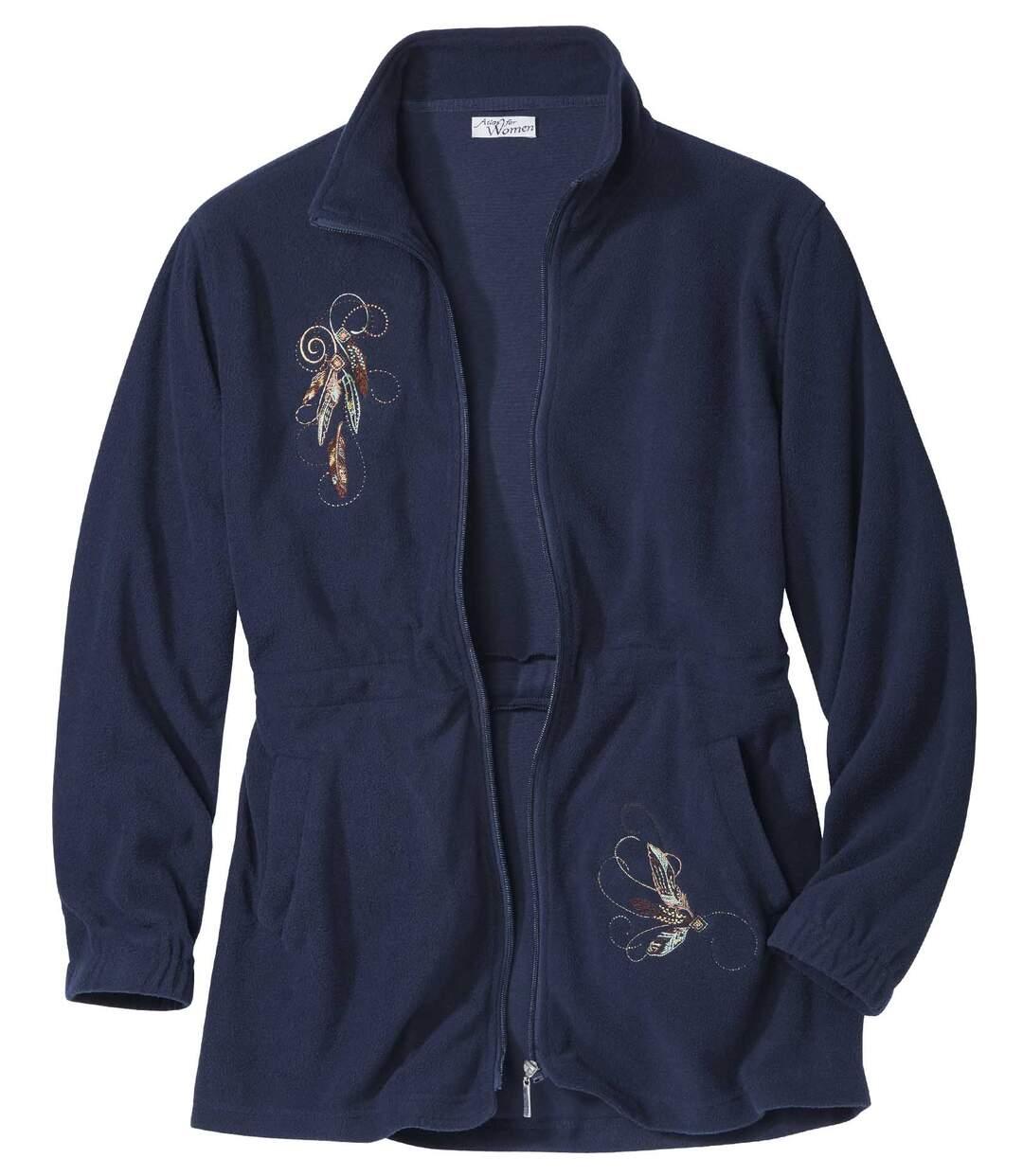 Nachtblauw fleecevest met borduursels