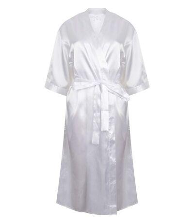 Peignoir kimono en satin - femme - TC054 - blanc