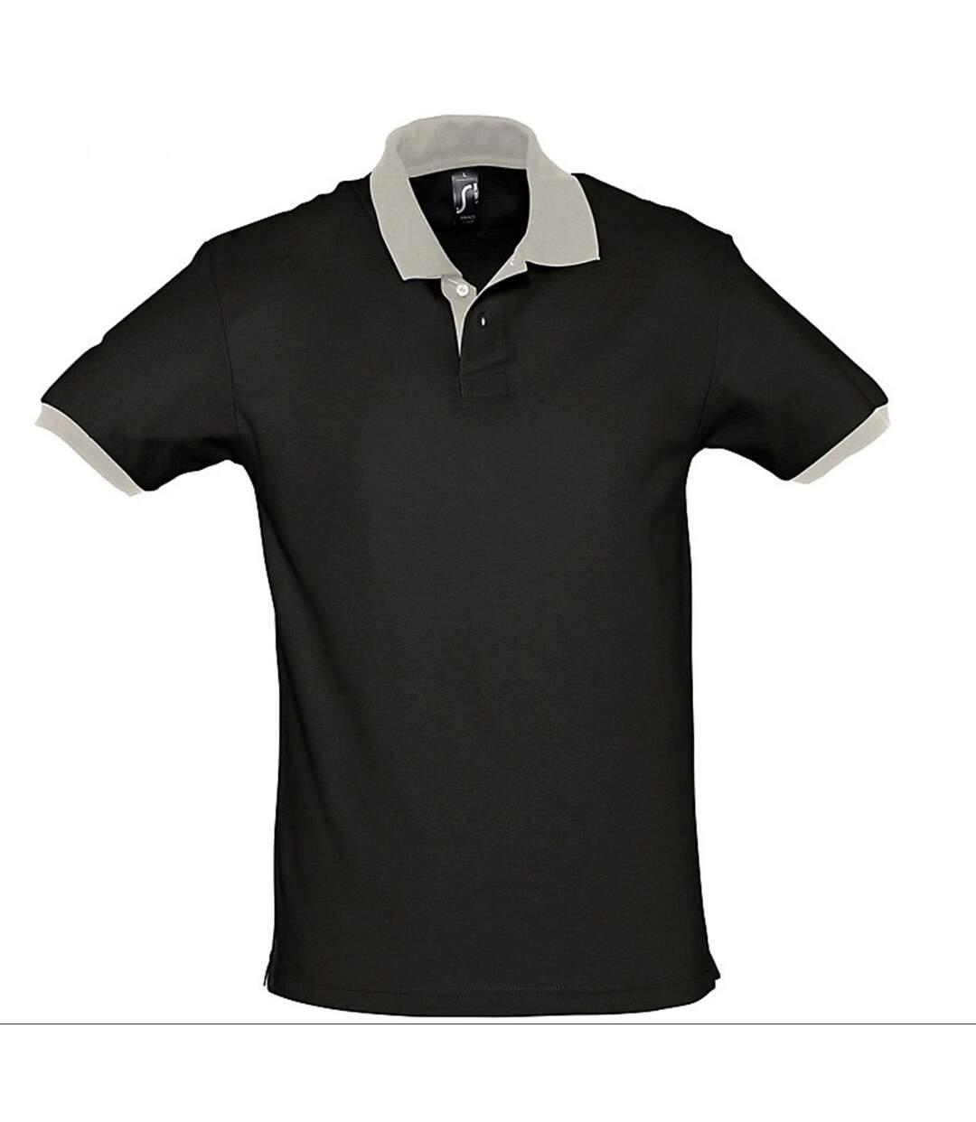 Polo homme bicolore - 11369 - noir et gris