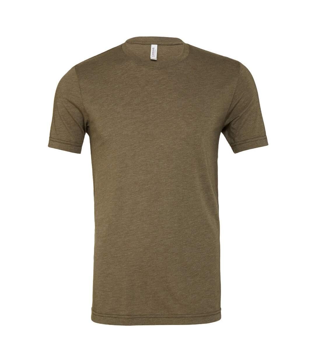 Canvas Mens Triblend Crew Neck Plain Short Sleeve T-Shirt (Olive Triblend) - UTBC2596