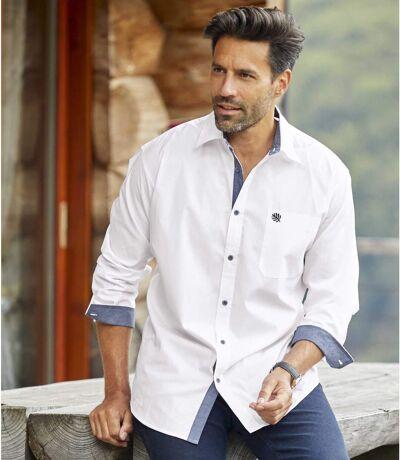 Men's White Long Sleeve Poplin Shirt