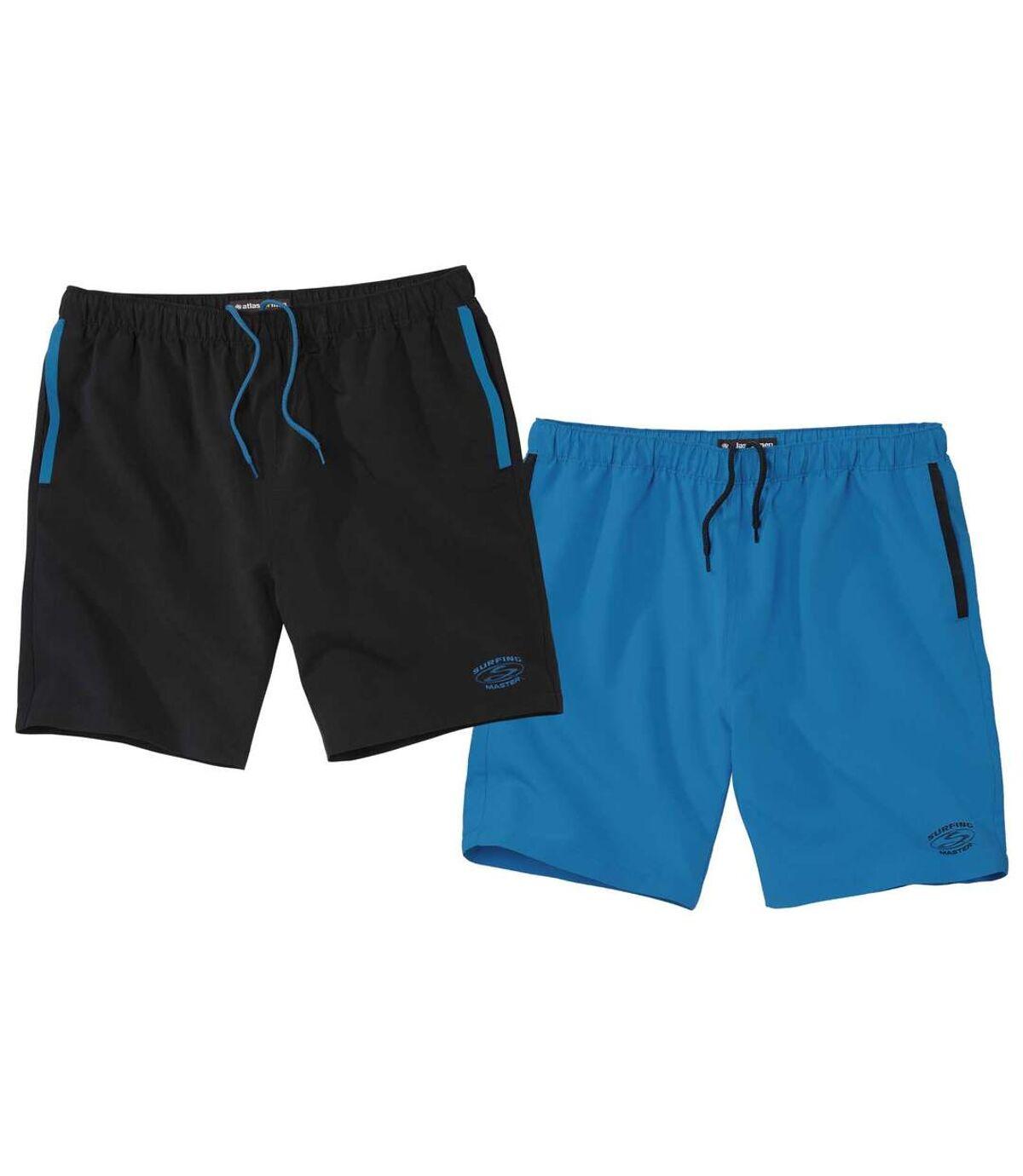 Pack of 2 Men's Sports Shorts - Blue Black Atlas For Men