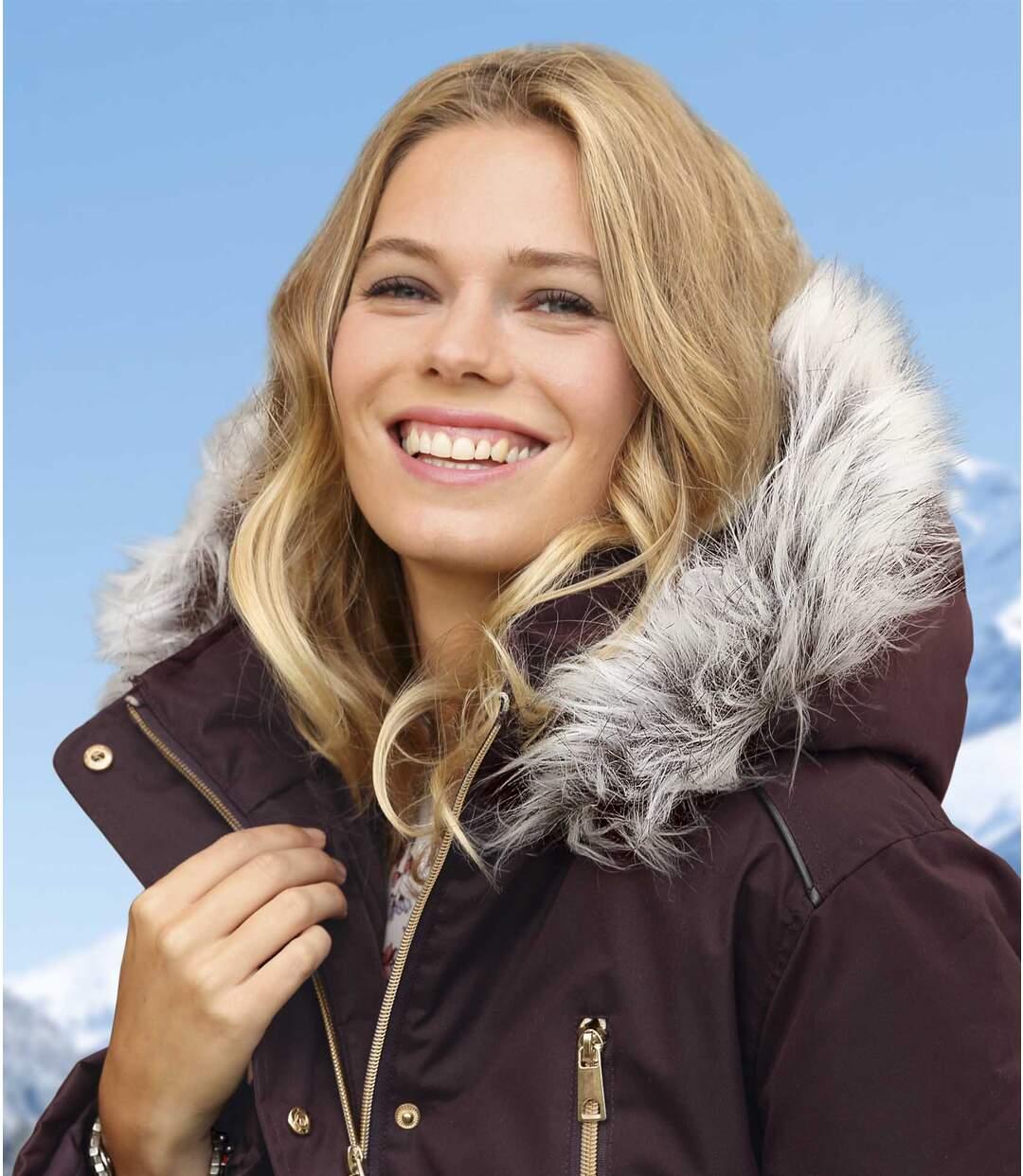 Women's Plum Parka - Faux Fur Hood
