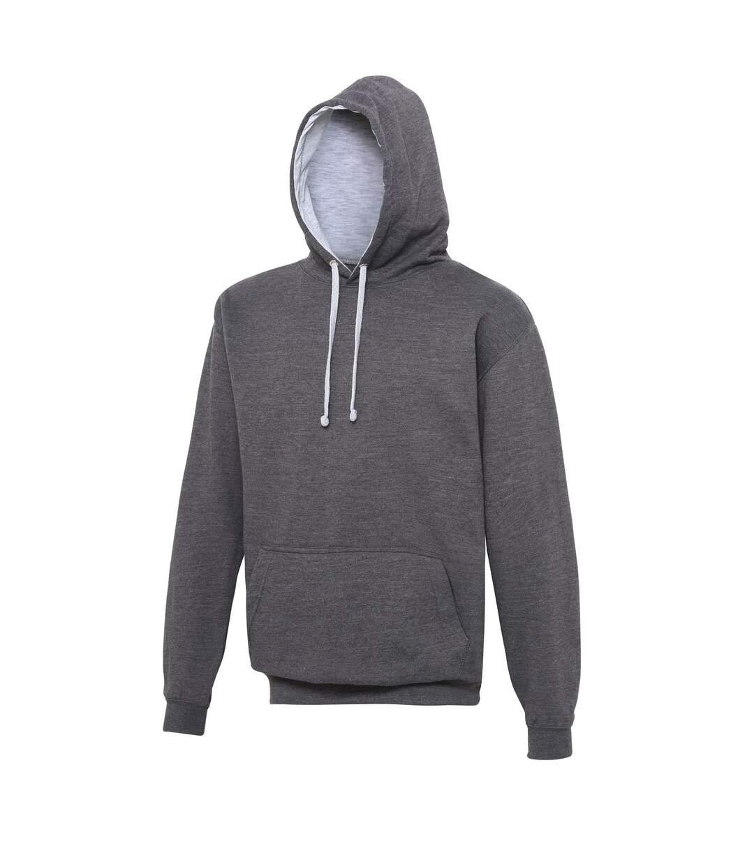 Sweat à capuche contrastée unisexe - JH003 - gris foncé et gris clair