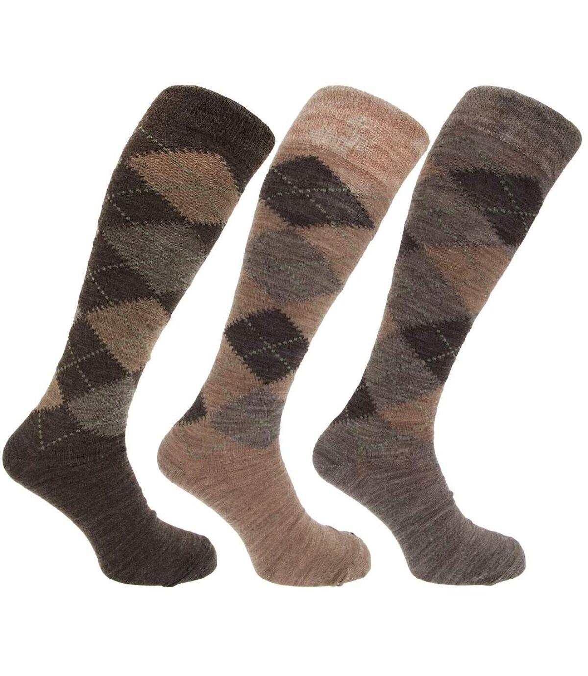 Mens Traditional Argyle Pattern Long Length Lambs Wool Blend Socks (Pack Of 3) (Shades of Brown) - UTMB277