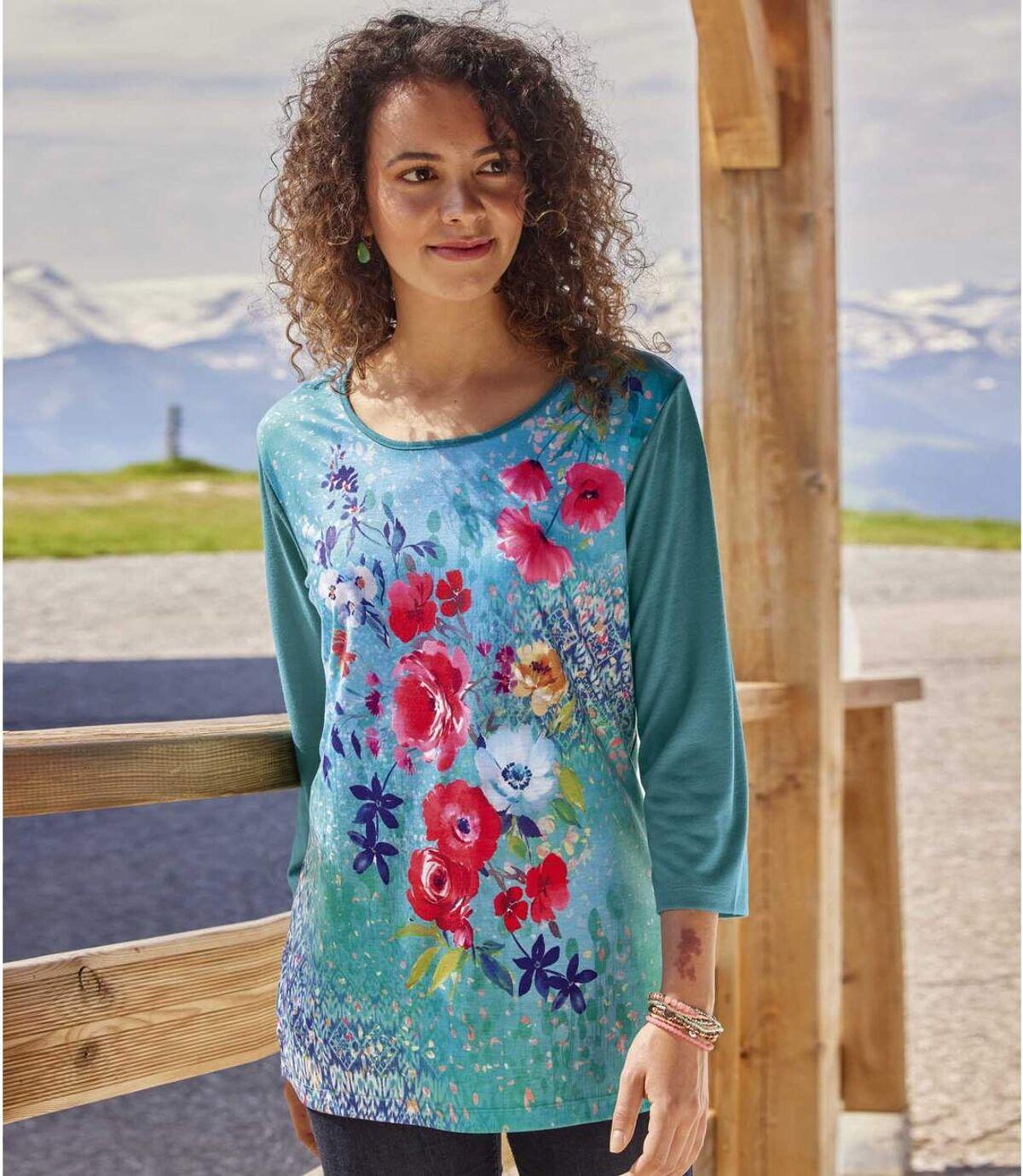 Lejąca bluzka w kwiatowe wzory Atlas For Men