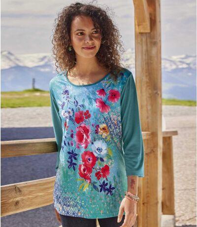 Lejąca bluzka w kwiatowe wzory