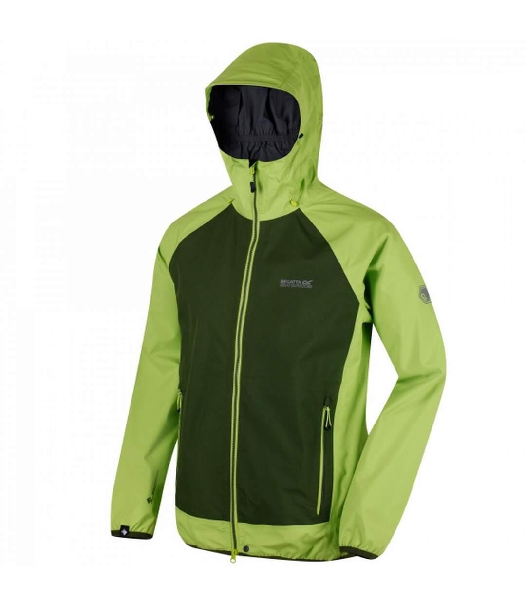 Regatta Mens Imber III Lightweight Waterproof Jacket (Lime Green/Racing Green) - UTRG3513