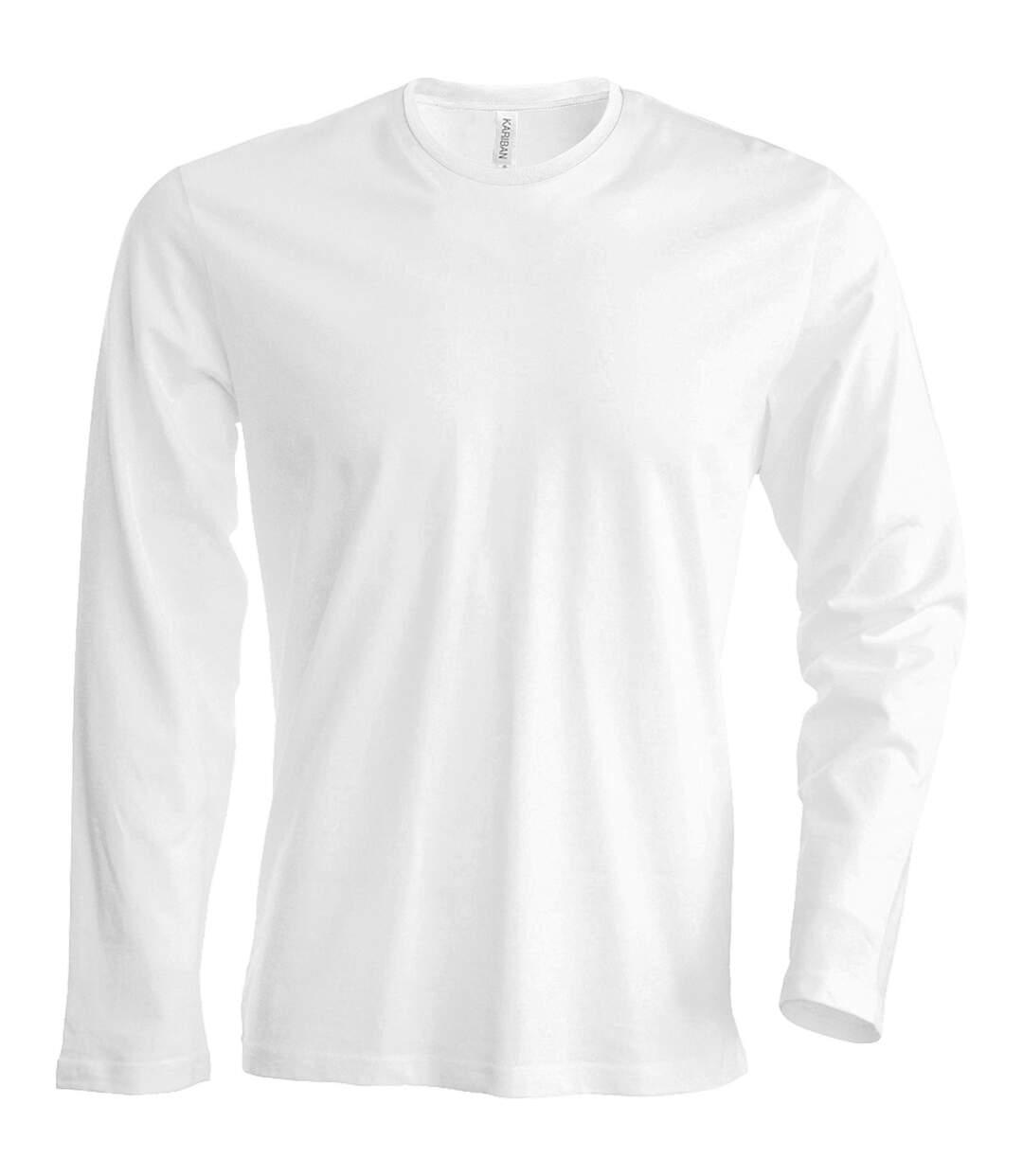 Kariban Mens Slim Fit Long Sleeve Crew Neck T-Shirt (White) - UTRW709