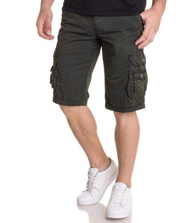 Bermuda short Kaki avec ceinture et poches cargo pour homme