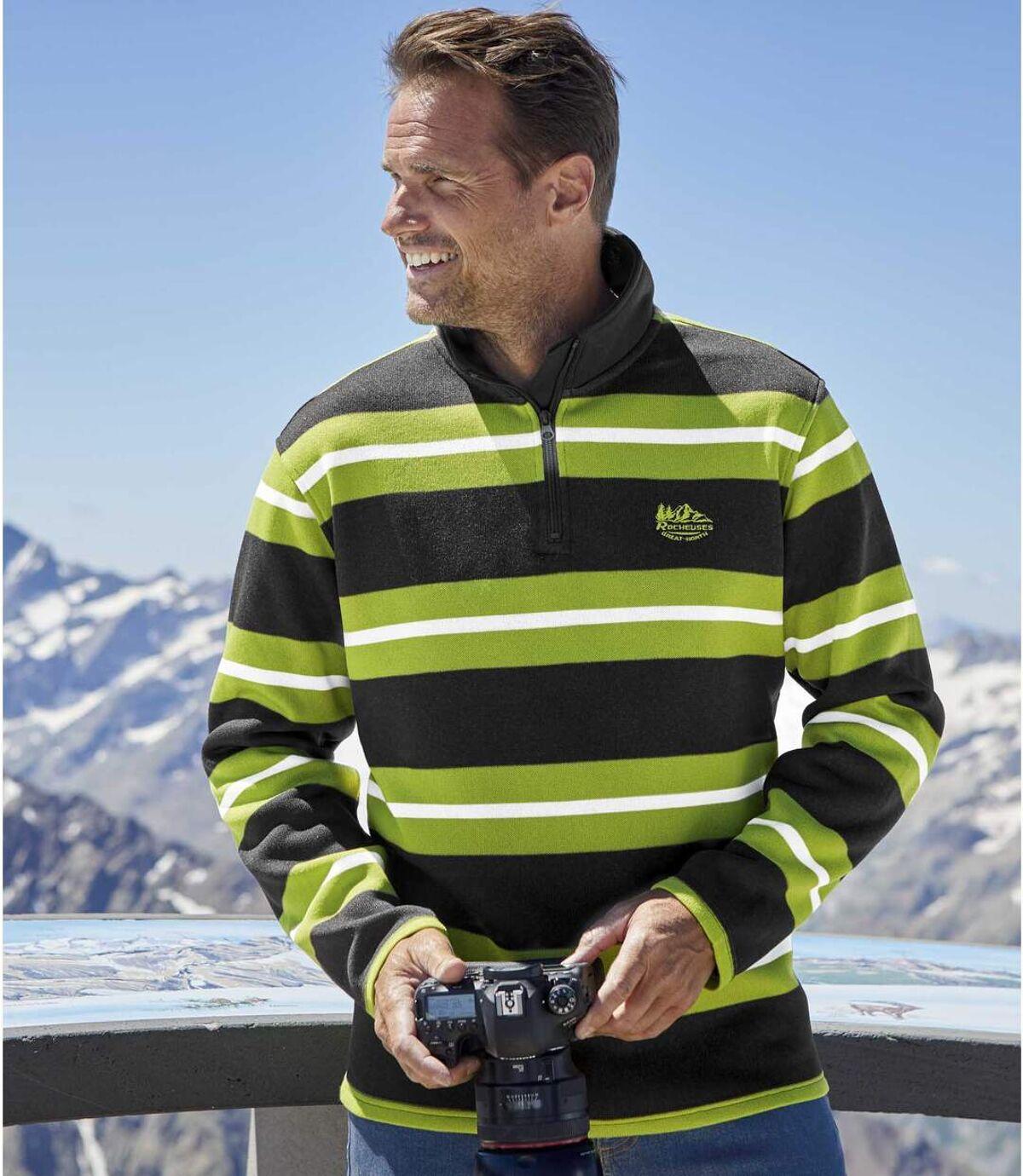 Men's Striped Half Zip Fleece Jumper - Anthracite Green Atlas For Men