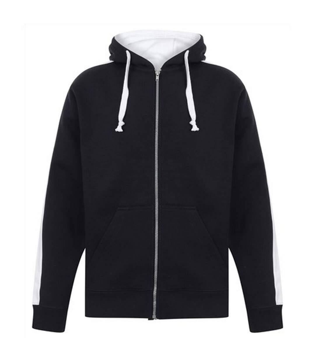 Finden & Hales Mens Full Zip Hooded Sweatshirt / Hoodie (Navy/White) - UTRW421