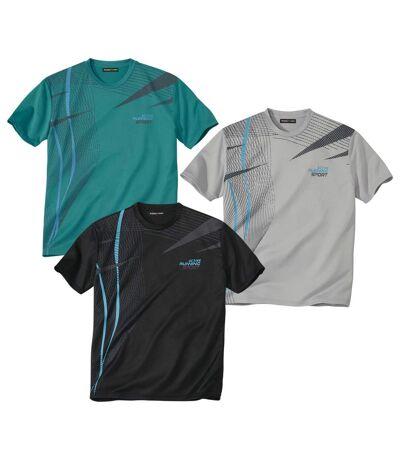 Pack of 3 Men's Graphic Print T-Shirts - Green Grey Black