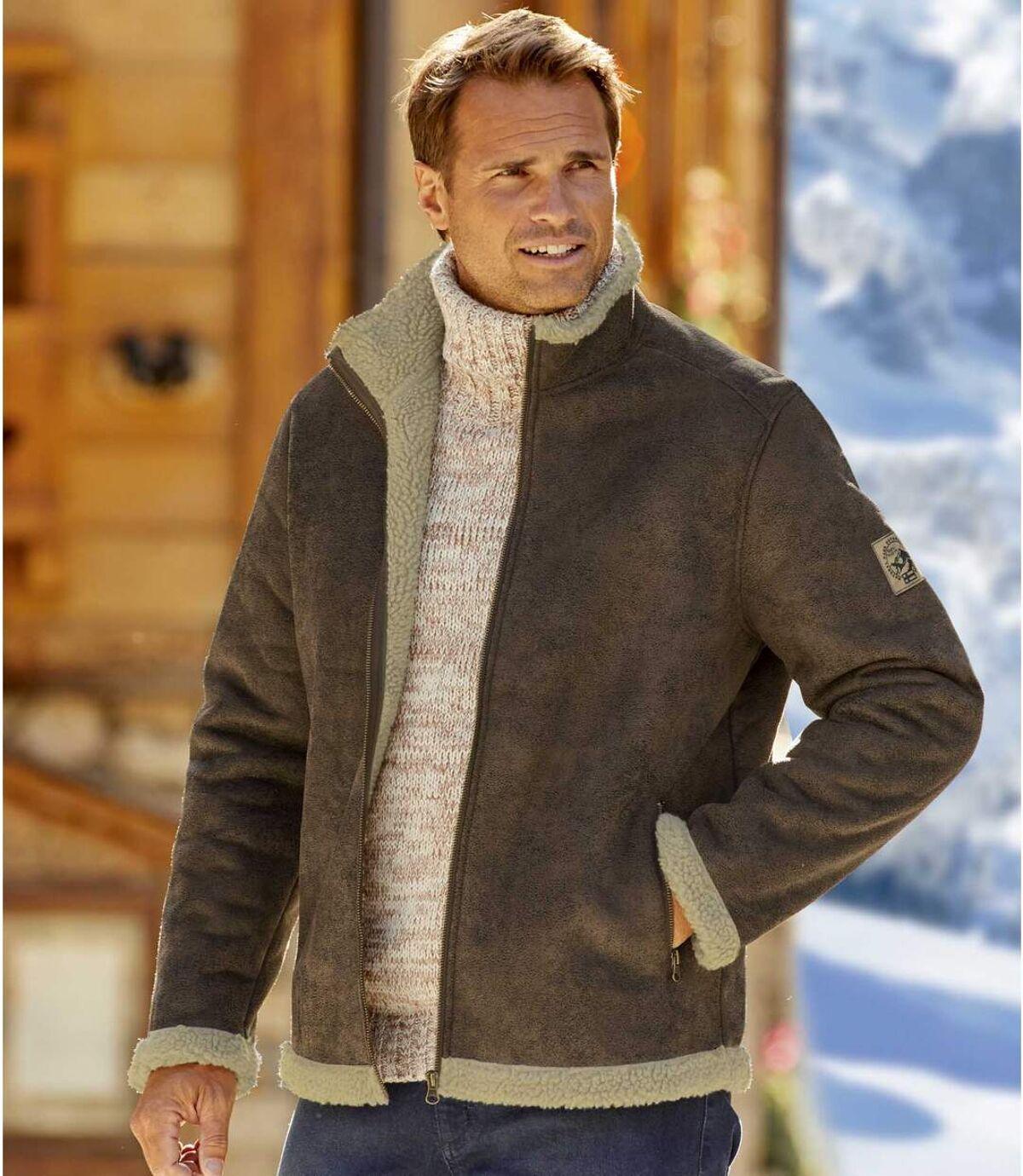 Kurtka lotnika ze sztucznego zamszu podszyta kożuszkiem sherpa Atlas For Men