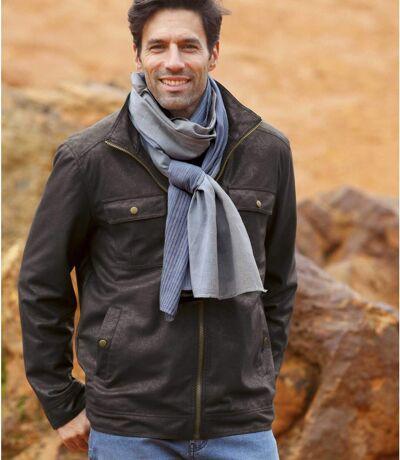 Men's Brown Faux-Suede and Full Zip Jacket