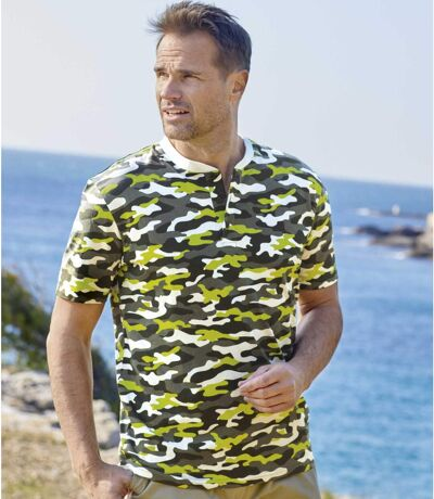 Tee-Shirt Col Tunisien Camouflage