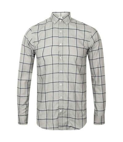 Skinni Fit Mens Brushed Check Casual Long Sleeve Shirt (Light Grey Check) - UTRW5497