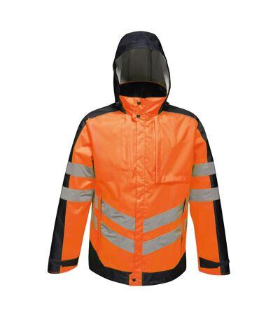 Regatta Mens Hi-Vis Waterproof Insulated Reflective Jacket (Orange/Navy) - UTRG4533