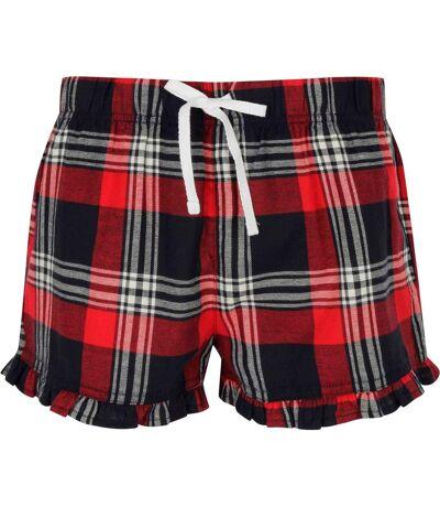 short pyjama femme motifs écossais tartan - SK082 - rouge