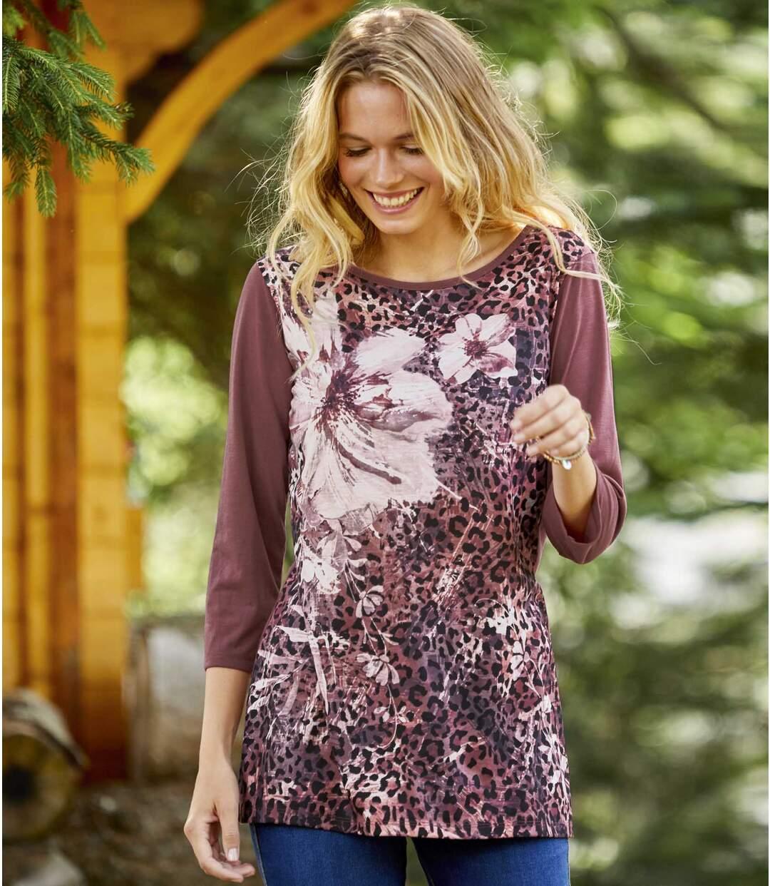 Virág és leopárd mintás tunika