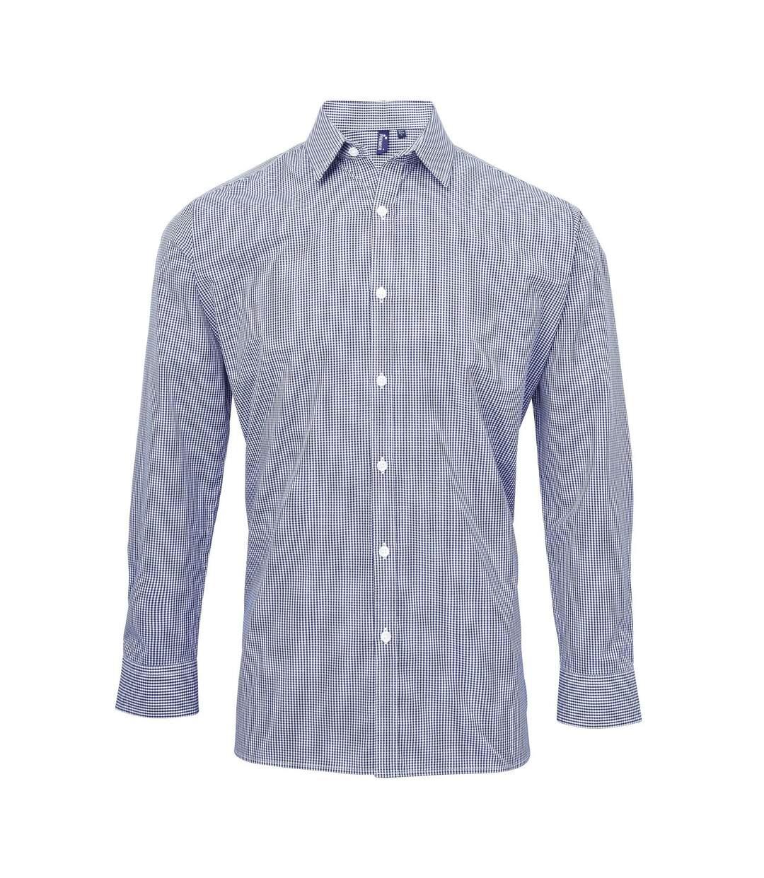 Chemise à carreaux manches longues - Homme - PR220 - bleu marine