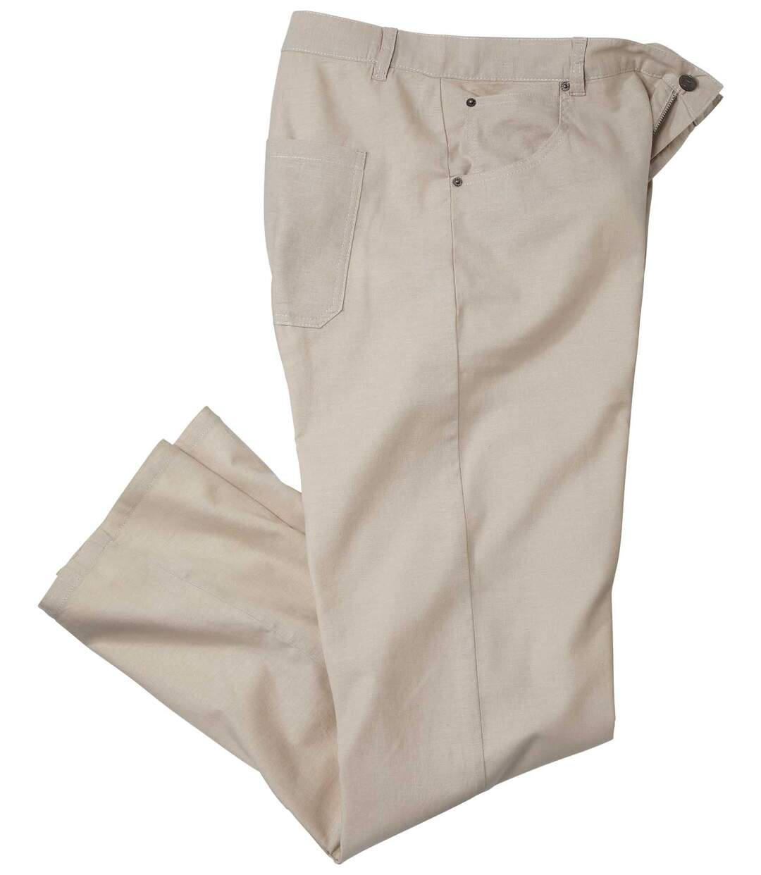 Béžové kalhoty ze strečového směsového materiálu bavlna/len
