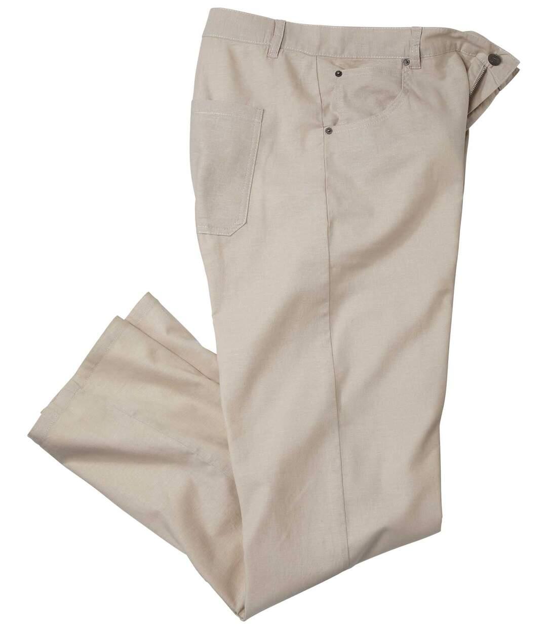 Pantalon Stretch Coton/Lin Beige