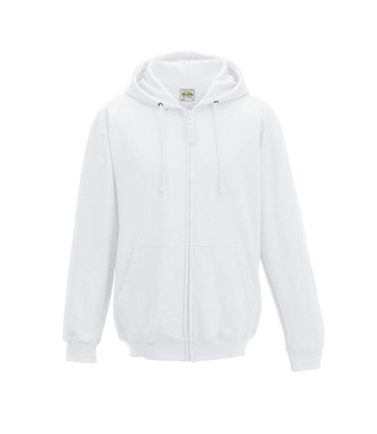 Awdis Plain Mens Hooded Full Zip Hoodie / Zoodie (Arctic White) - UTRW180