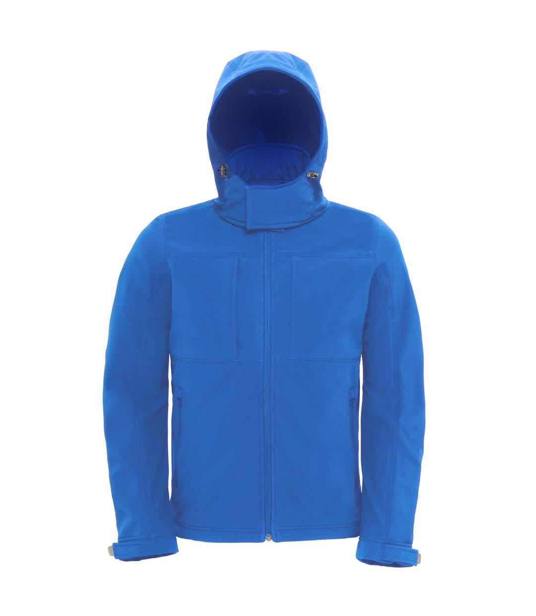 B&C Mens Hooded Softshell Breathable, Waterproof & Windproof Jacket (Fleece Lining) (Azure Blue) - UTBC2001