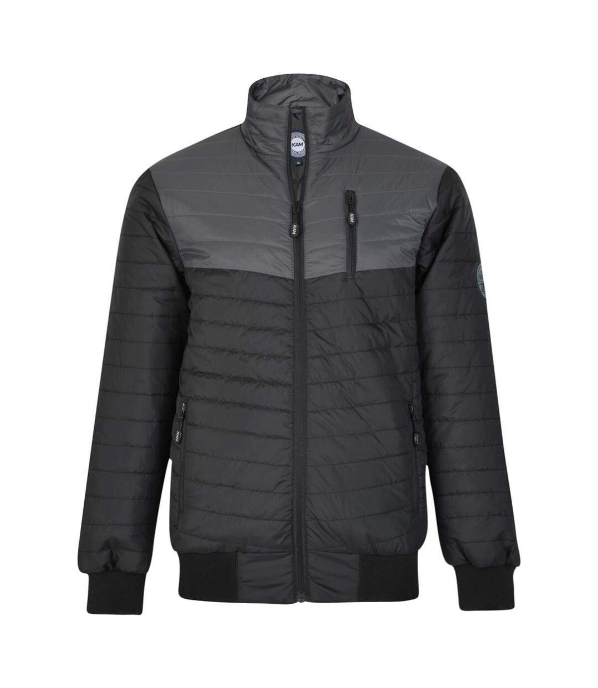 Kam Jeanswear Mens Contrast Chevron Jacket (Black/Grey) - UTKJ186
