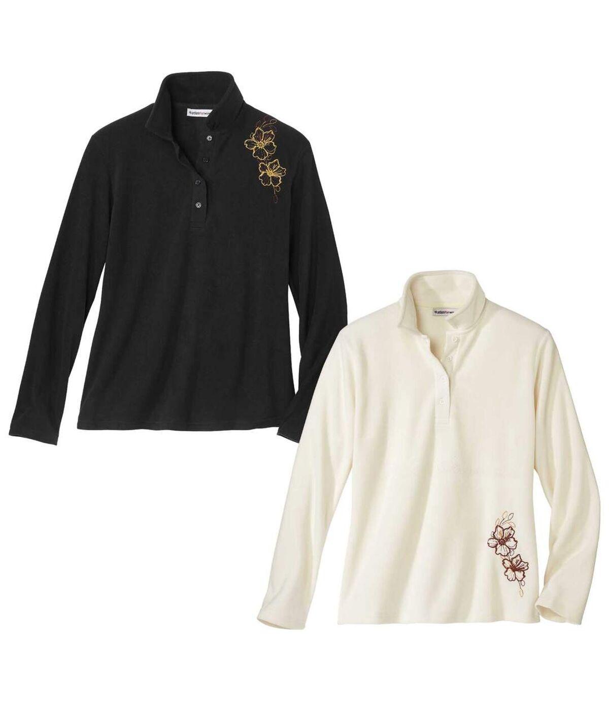 Pack of 2 Women's Microfleece Sweaters - Black Off-White Atlas For Men