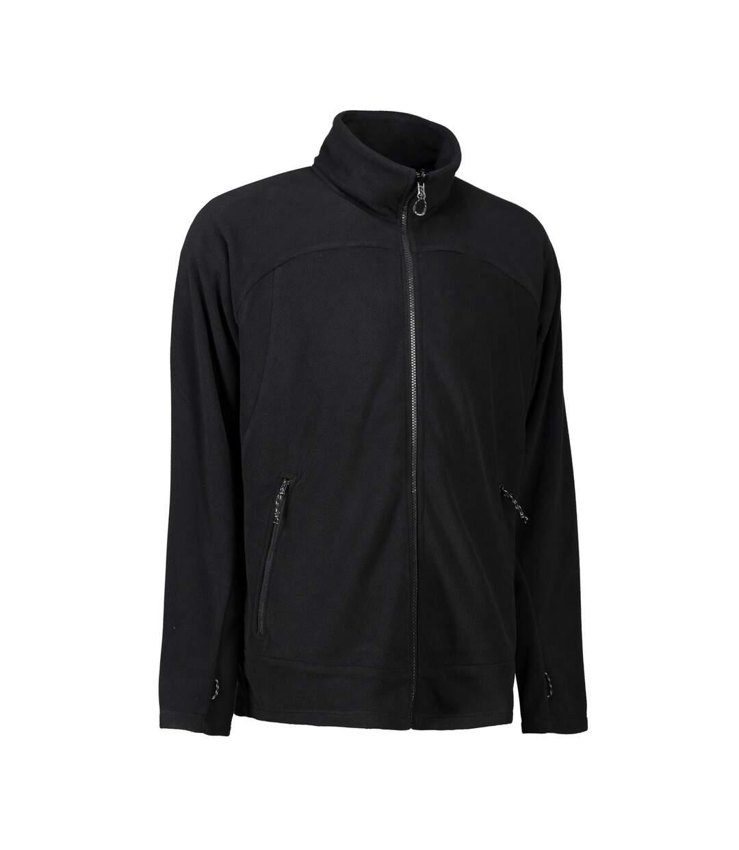 ID Mens Zip N Mix Active Fleece Jacket (Black) - UTID425