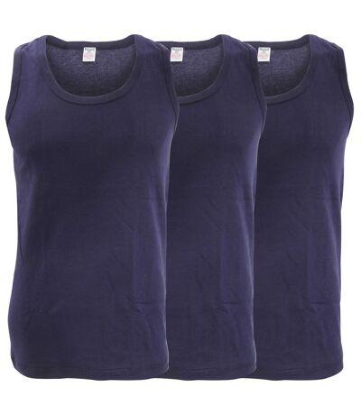 FLOSO Mens Interlock Single Vest (Pack Of 3) (Navy) - UTMU164