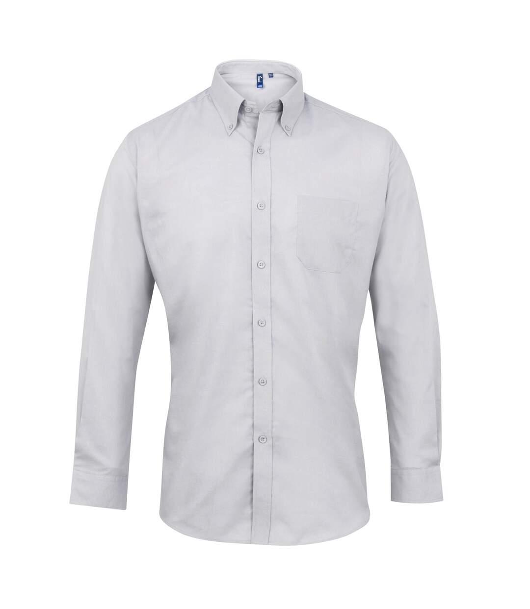 Premier Mens Signature Oxford Long Sleeve Work Shirt (Silver) - UTRW2816