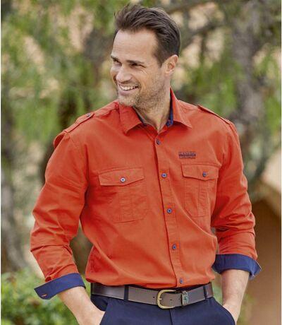 Men's Cotton Poplin Long Sleeve Pilot Shirt - Burnt Orange
