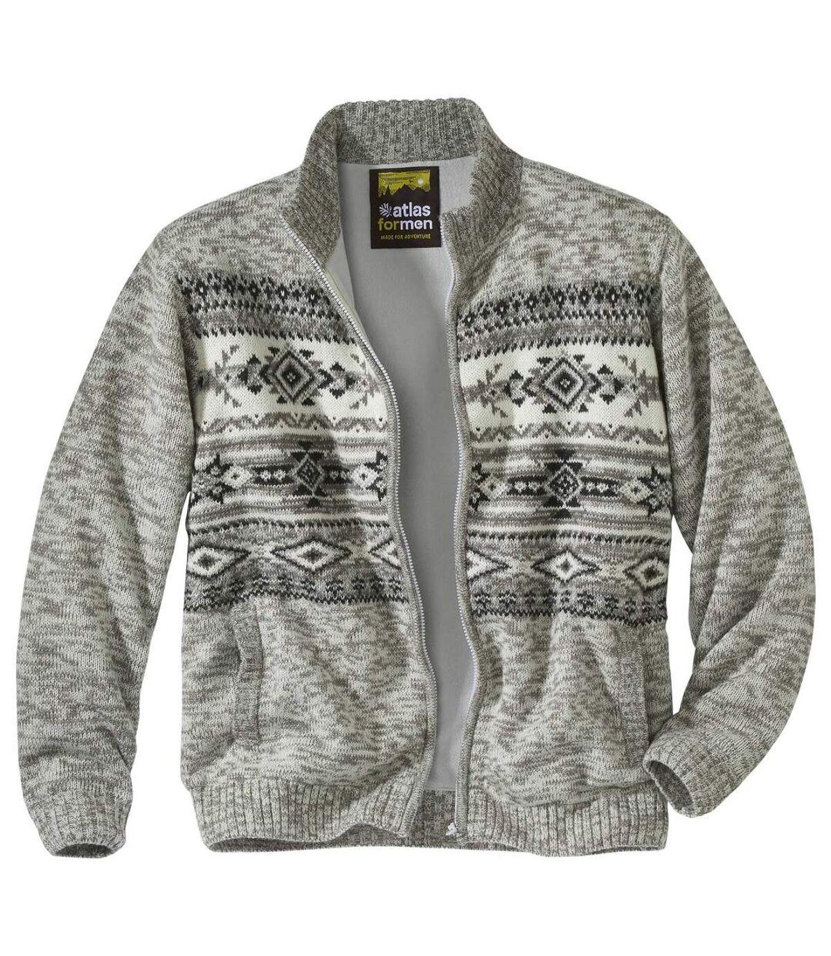 Žakárový svetr zateplený fleecem Atlas For Men