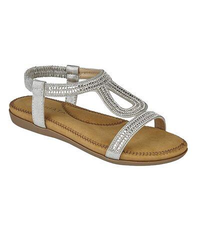 Cipriata Womens/Ladies Nicole Diamante Elasticated Halter Back Sandals (Silver) - UTDF1753