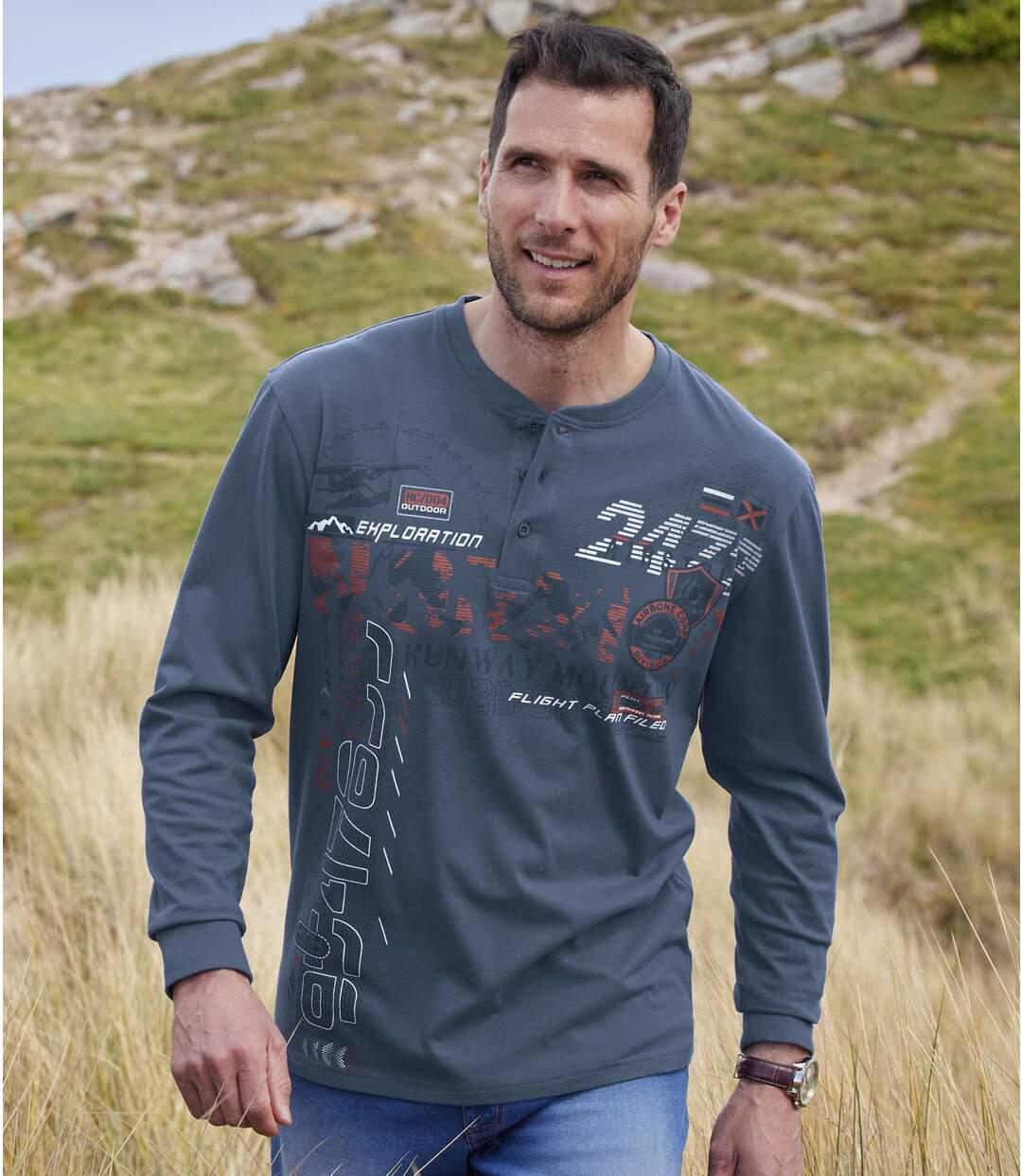 Zestaw 2 t-shirtów z dekoltem z guzikami Runway Mountain Atlas For Men