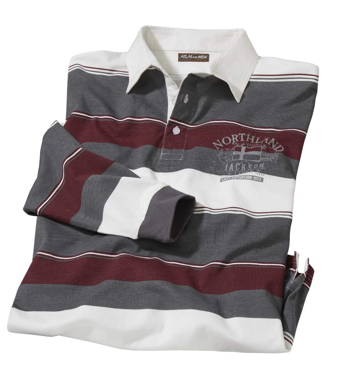 Men's Striped Polo Shirt - Ecru Grey Burgundy