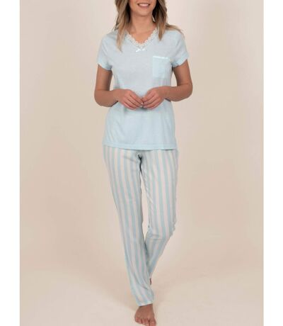 Tenue d'intérieur pyjama pantalon t-shirt Classic Stripes bleu Admas